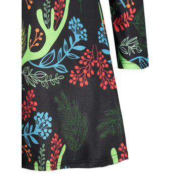 Christmas Long Sleeve Printed A-line Dress - BLACK 2XL