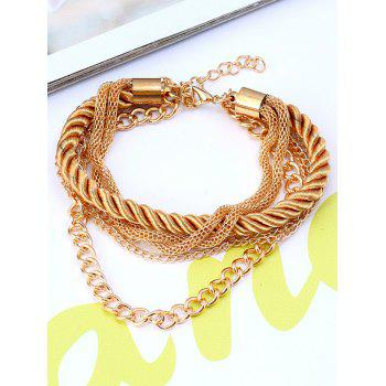 Multilayered Fringed Chain Rope Bracelet - YELLOW