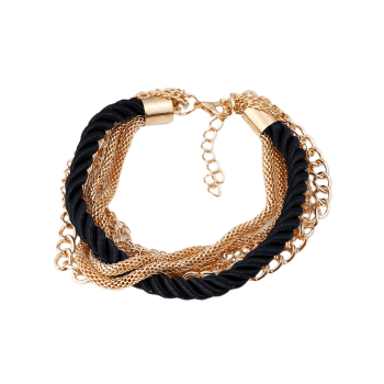 Multilayered Fringed Chain Rope Bracelet - BLACK