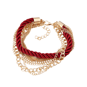 Multilayered Fringed Chain Rope Bracelet - RED