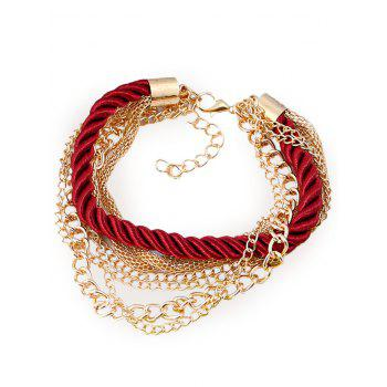 Multilayered Fringed Chain Rope Bracelet - RED RED