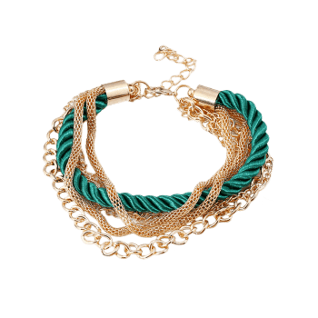 Multilayered Fringed Chain Rope Bracelet - GREEN