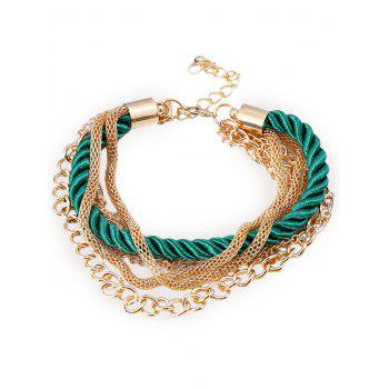 Multilayered Fringed Chain Rope Bracelet - GREEN GREEN