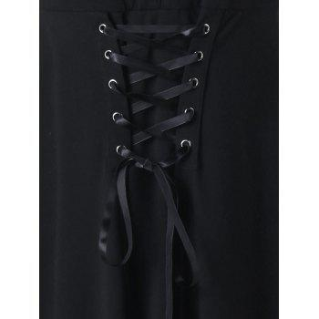 Gothic Sheer Lace Up Fit and Flare Dress - BLACK XL