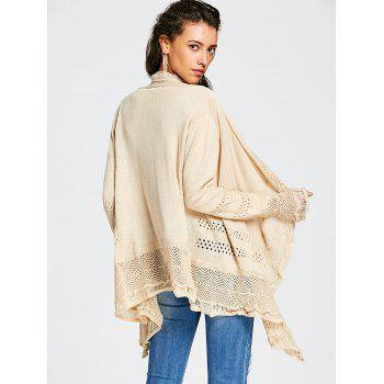 Chic Hollow Out Solid Color Irregular Cardigan For Women - KHAKI L