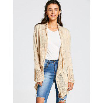 Chic Hollow Out Solid Color Irregular Cardigan For Women - KHAKI XL