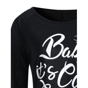 Baby Its Cold Outside Plus Size Christmas T-shirt - BLACK 4XL