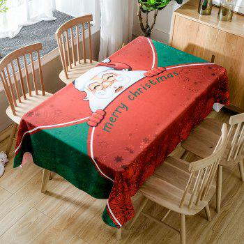 Christmas Santa Greetings Print Waterproof Table Cloth