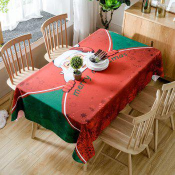 Christmas Santa Greetings Print Waterproof Table Cloth - RED W60 INCH * L84 INCH