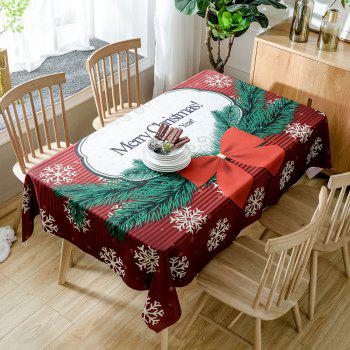 Christmas Bowknot Snowflake Print Waterproof Table Cloth