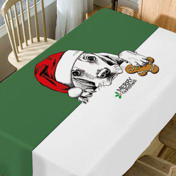 Christmas Dog Print Waterproof Table Cloth - COLORMIX W54 INCH * L72 INCH