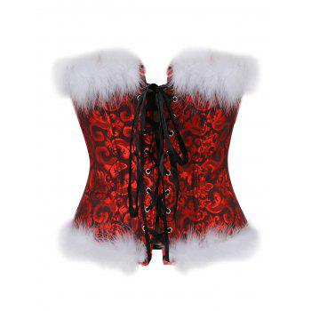 Feathers Christmas Steel Boned Brocade Corset - RED RED