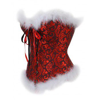 Feathers Christmas Steel Boned Brocade Corset - RED XL