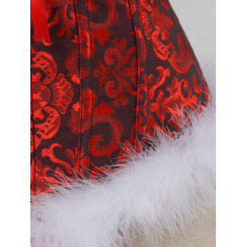 Feathers Christmas Steel Boned Brocade Corset - RED 2XL