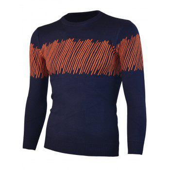 Color Block Jacquard Knitted Crewneck Sweater - BLUE 2XL