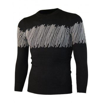 Color Block Jacquard Knitted Crewneck Sweater - BLACK 2XL