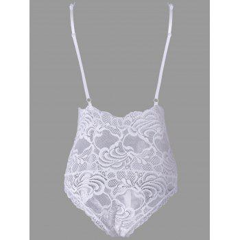 Lace Backless Plunging Neck Teddy - WHITE WHITE