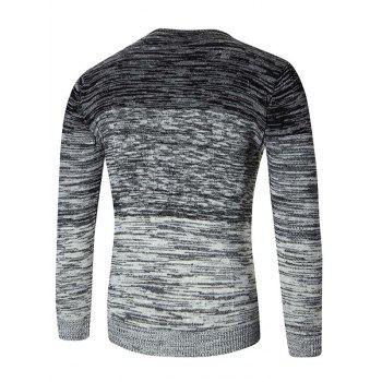Ombre Space Dyed Crew Neck Sweater - BLACK L
