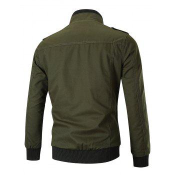 Stand Collar Zip Front Epaulet Trucker Jacket - GREEN L