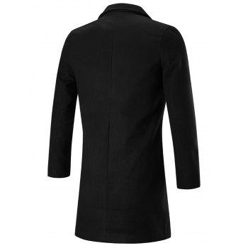 Single Breasted Notch Lapel Wool Blend Coat - BLACK 4XL