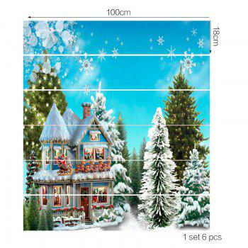 Christmas Forest Cottage Printed Stair Art Stickers - COLORFUL 6PCS:39*7 INCH( NO FRAME )