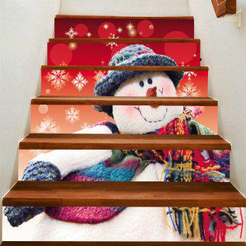 Snowman with Scarf Hat Print Stair Stickers - COLORFUL COLORFUL