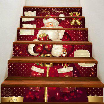 Christmas Santa Claus with Gifts Pattern DIY Decorative Stair Stickers - COLORFUL COLORFUL