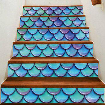 Artistic Fish Scale Pattern DIY Decorative Stair Stickers - COLORFUL COLORFUL
