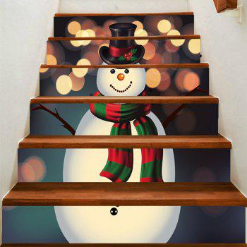 Spot Light Background Snowman Printed Removable Stair Stickers - COLORFUL COLORFUL