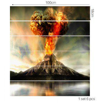 Erupting Volcano Pattern Decorative Stair Stickers - GRAY 100*18CM*6PCS
