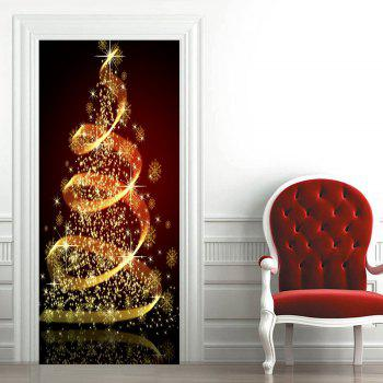 Sparkling Christmas Tree Print Door Stickers - DARK RED 38.5*200CM*2PCS