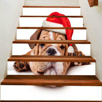 Christmas Puppy Printed Removable Stair Stickers - COLORFUL COLORFUL