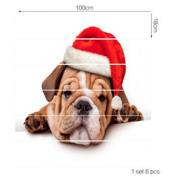 Christmas Puppy Printed Removable Stair Stickers - COLORFUL 100*18CM*6PCS