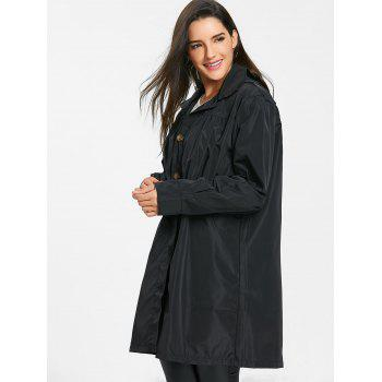 Hooded Single Breasted Coat - BLACK L