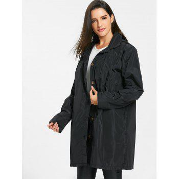 Hooded Single Breasted Coat - BLACK XL