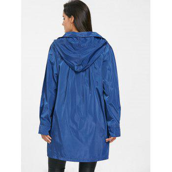 Hooded Single Breasted Coat - BLUE 2XL