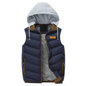 Lightweight Winter Warm Hooded Vest - BLUE BLUE