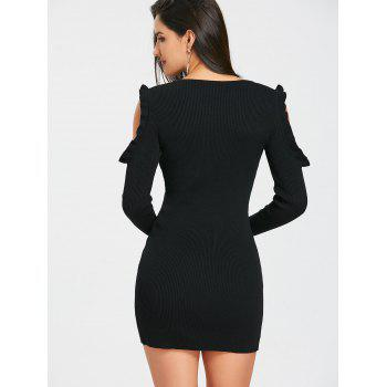 Cold Shoulder Ruffle Knitted Rib Bodycon Dress - BLACK M