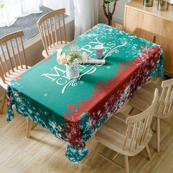 Merry Christmas Greetings Print Waterproof Table Cloth - GREEN W60 INCH * L84 INCH