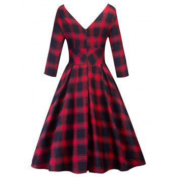 Retro Cut Out Plaid Fit and Flare Dress - CHECKED M