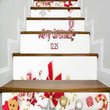 Christmas Elements Printed Home Decor Stair Stickers - WHITE WHITE