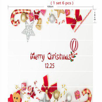 Éléments de Noël imprimés Home Decor Stickers d'escalier - Blanc 100*18CM*6PCS