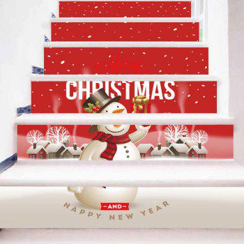Merry Christmas Snowman Pattern Decorative Stair Stickers - RED RED