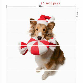 Cute Dog Wearing Christmas Hat Print Decorative Stair Stickers - WHITE WHITE
