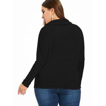 Drawstring Plus Size Cowl Neck Sweatshirt - BLACK 4XL