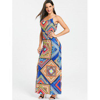 Geometrical Cut Out High Slit Maxi Dress - BLUE S