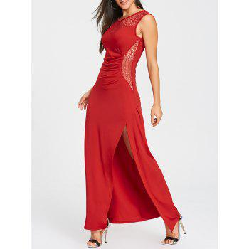 High Slit Draped Maxi Party Dress - RED RED