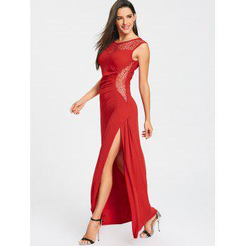 High Slit Draped Maxi Party Dress - RED M