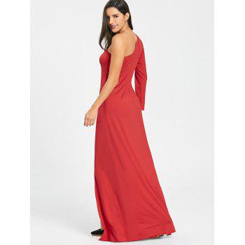 High Slit Empire Waist One Shoulder Dress - RED XL
