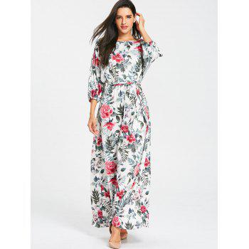 Belted Floral Print Batwing Sleeve Maxi Dress - GRAY GRAY